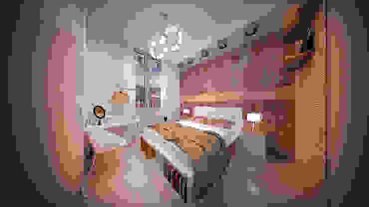 Сумасшедшая перепланировка из офиса в квартиру Спальня в стиле минимализм от дизайн-бюро ARTTUNDRA Минимализм