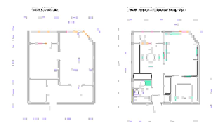 Превращение однокомнатной квартиры в двухкомнатную от дизайн-бюро ARTTUNDRA Минимализм
