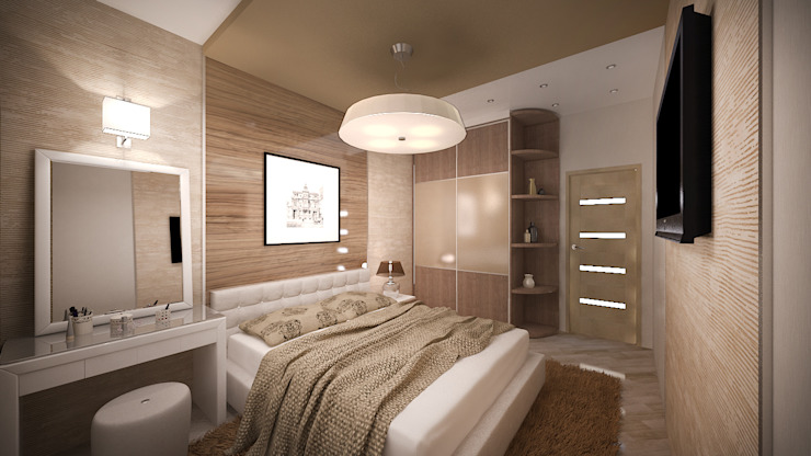 Трех комнатная квартира в Истринском районе Спальня в стиле минимализм от дизайн-бюро ARTTUNDRA Минимализм