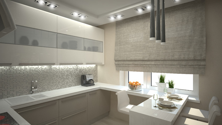 Трех комнатная квартира по ул Осенний бульвар Кухня в стиле минимализм от дизайн-бюро ARTTUNDRA Минимализм