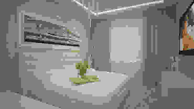 Трех комнатная квартира по ул Осенний бульвар Спальня в стиле минимализм от дизайн-бюро ARTTUNDRA Минимализм