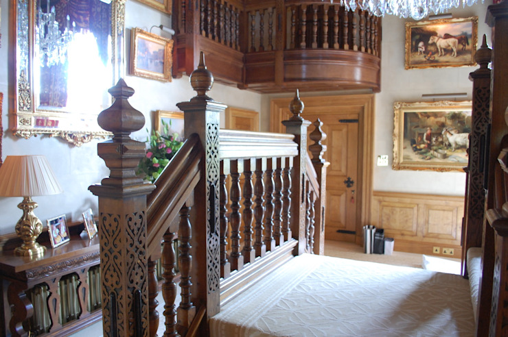 Oak staircase hand carved Arttus Classic style corridor, hallway and stairs
