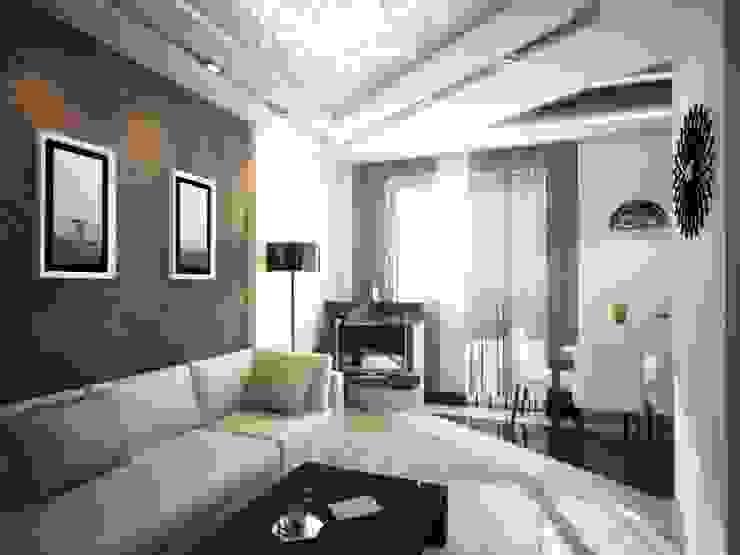 Двухкомнатная квартира. Игра черного и белого Гостиная в стиле минимализм от дизайн-бюро ARTTUNDRA Минимализм