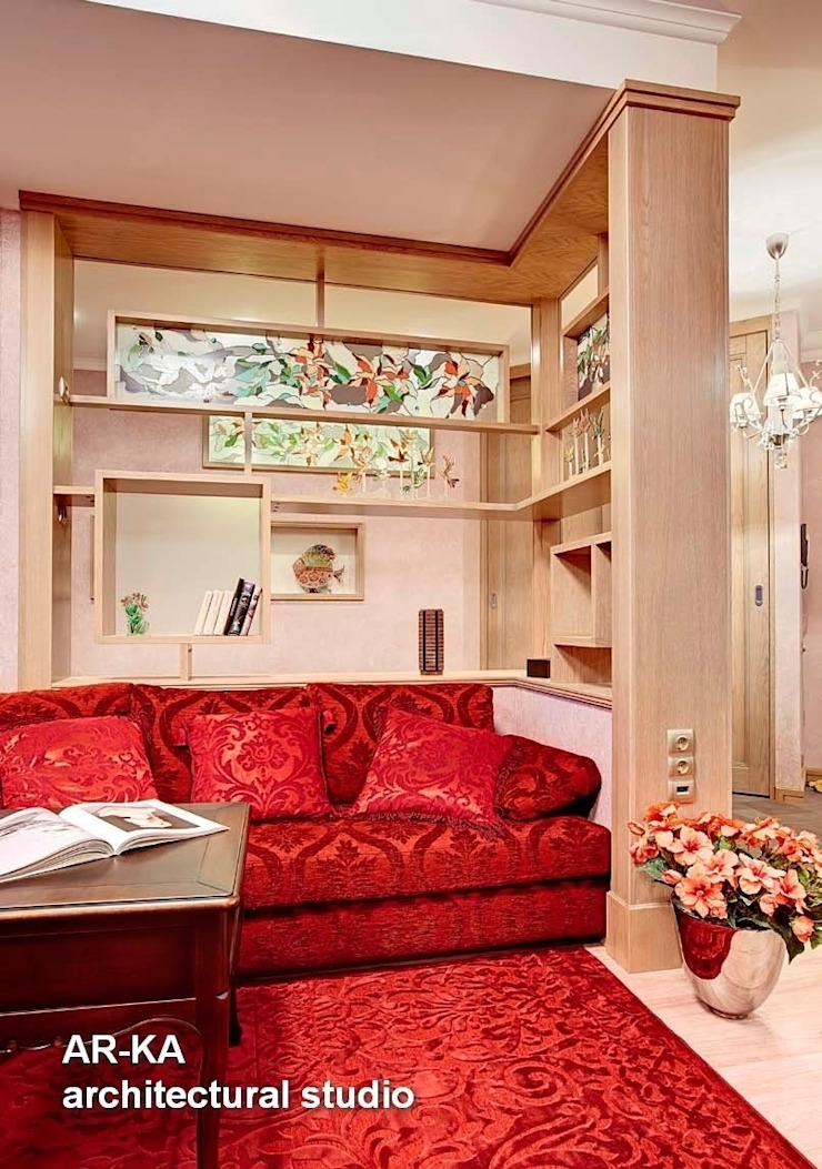 Квартира для подарков Гостиная в стиле модерн от AR-KA architectural studio Модерн