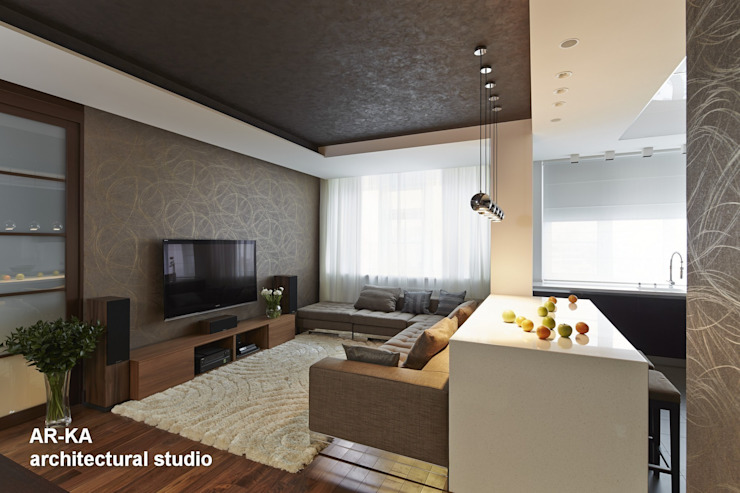 Все сложное - ПРОСТО Гостиная в стиле модерн от AR-KA architectural studio Модерн