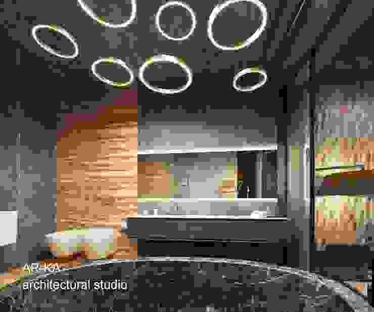LUX Лофт на Мосфильмовской Ванная в стиле лофт от AR-KA architectural studio Лофт