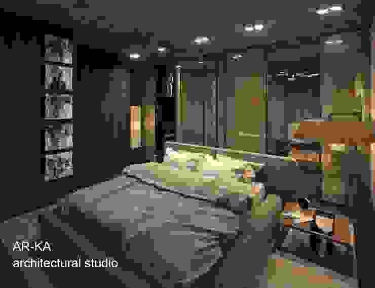 LUX Лофт на Мосфильмовской Спальня в стиле лофт от AR-KA architectural studio Лофт