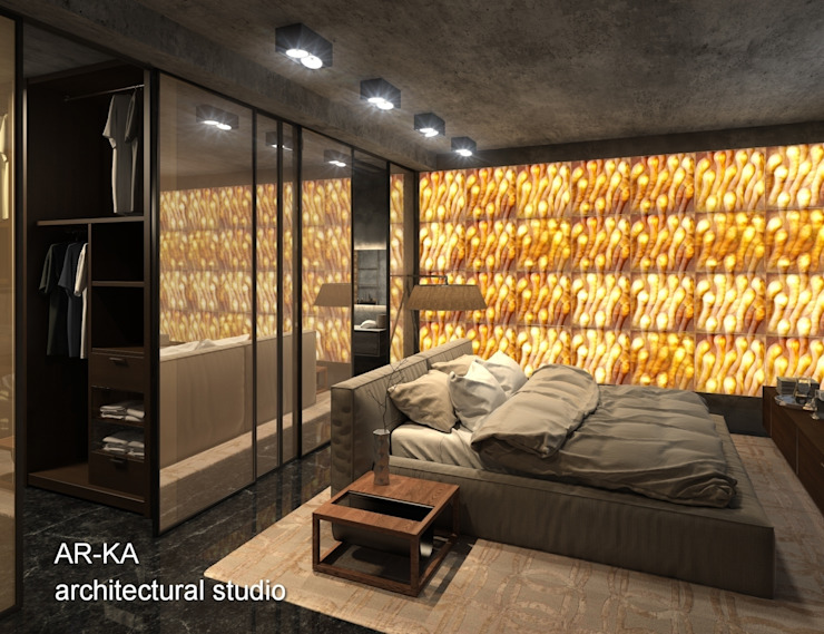 AR-KA architectural studio Industrial style bedroom