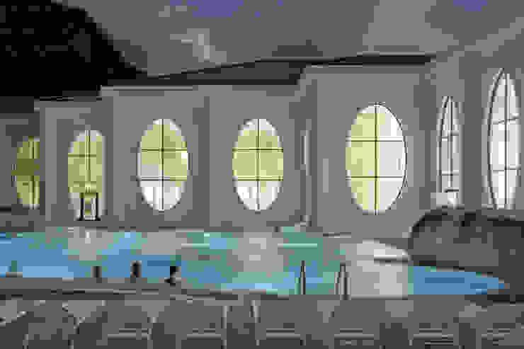 Outside view at night with existing pool Klassische Gastronomie von Smolenicky & Partner Architektur GmbH Klassisch