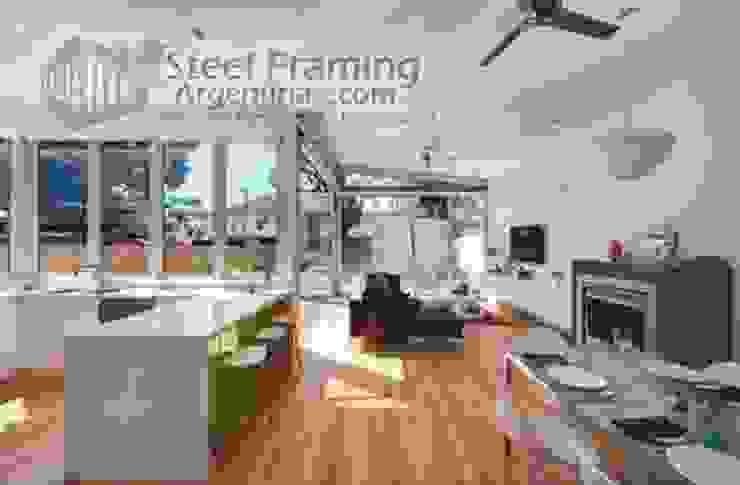 Interiores de Casas en Steel Framing Livings modernos: Ideas, imágenes y decoración de Steel Framing Argentina Moderno Hierro/Acero