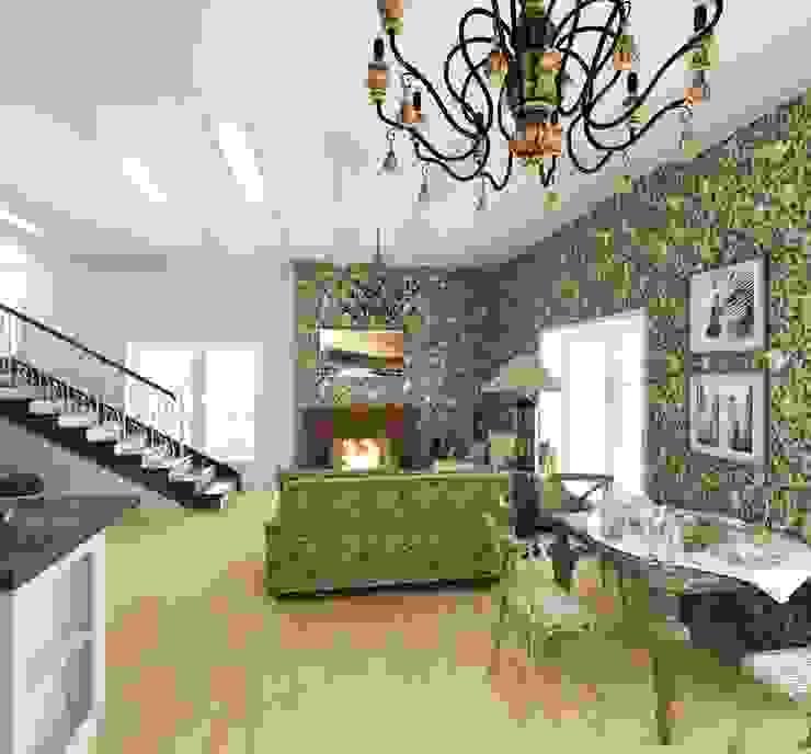 Кухня/гостиная в частном доме Гостиные в эклектичном стиле от Eclectic DesignStudio Эклектичный