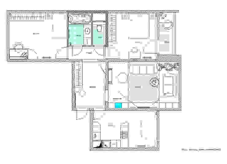 план квартиры с расстановкой мебели после перепланировки:  в современный. Автор – Архитектурно-дизайнерское бюро Натальи Медведевой 'APRIORI design', Модерн