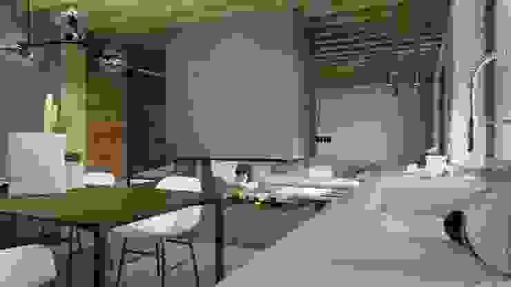 Concrete, wood and fire Столовая комната в скандинавском стиле от Elena Arsentyeva Скандинавский