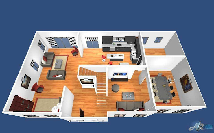 3D Virtual Floor Plan por Yantram Architectural Design Studio