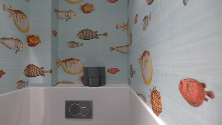 Détail papier peint espace toilettes. Fella DESPRES, Décoration D'intérieur. Salle de bain moderne