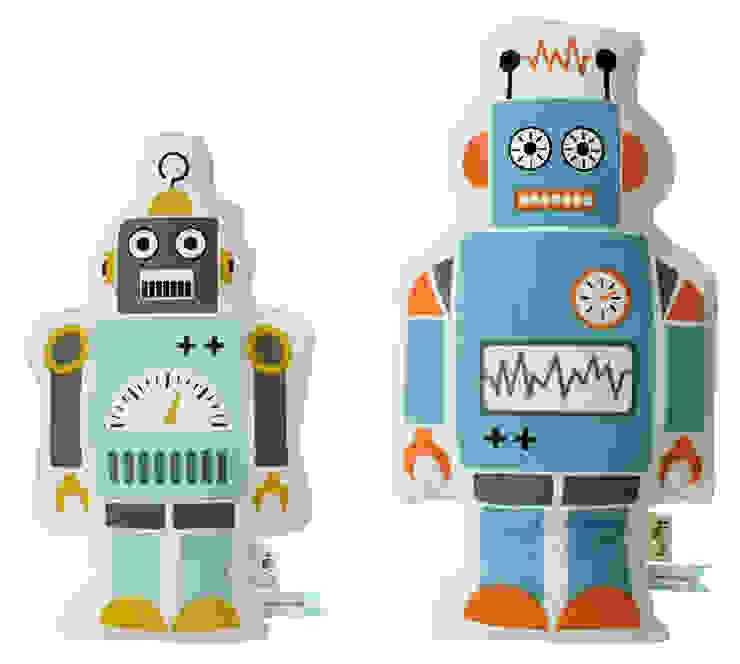 Hippe robot kussens van Ferm Living van De Kleine Generatie Scandinavisch