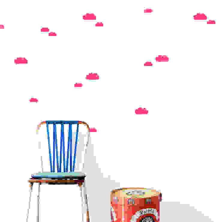 Ferm living muurstickers mini wolken neon rose van De Kleine Generatie Scandinavisch