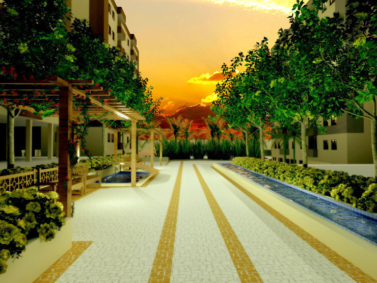 Paisagismo de Condominios Jardins tropicais por Roncato Paisagismo e Comércio de Plantas Ltda Tropical