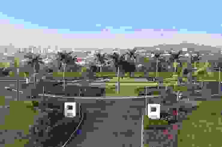 Entrada de condomínio marcada por palmeiras Jardins tropicais por Roncato Paisagismo e Comércio de Plantas Ltda Tropical