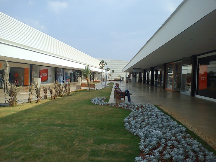 Paisagismo Outlet Premium Brasilia ( Jardim recém-plantado) Shopping Centers modernos por Roncato Paisagismo e Comércio de Plantas Ltda Moderno