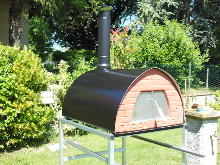 Wood fired oven mobile Pizzone by Pizza Party Rustic style balcony, veranda & terrace by Genotema SRL Unipersonale Rustic