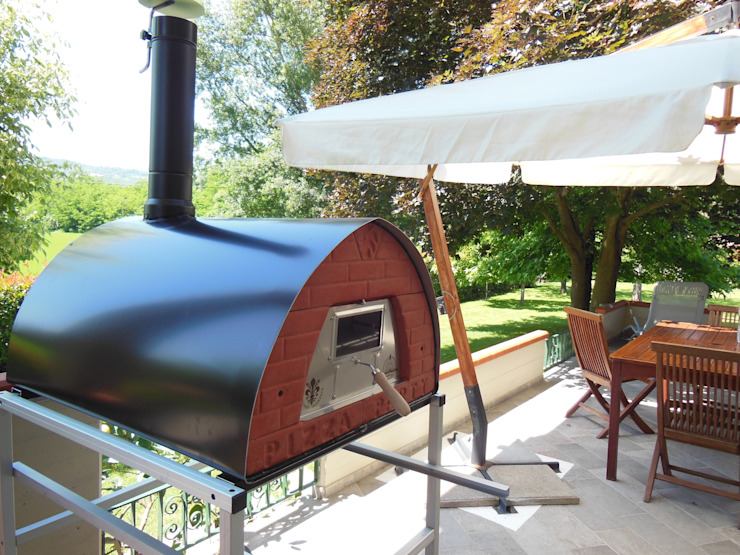 Wood burning oven Pizzone placement: Garden por Pizza Party Rústico