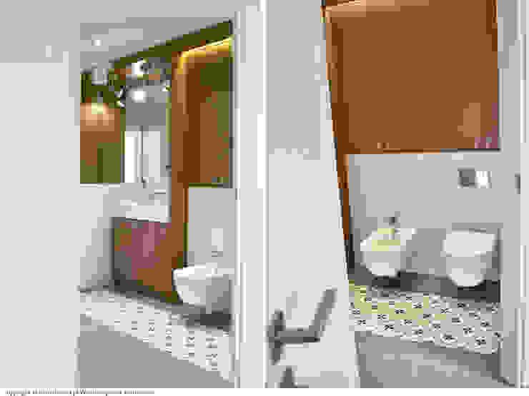 Łazienka - wejście Minimalistyczna łazienka od DoMilimetra Minimalistyczny