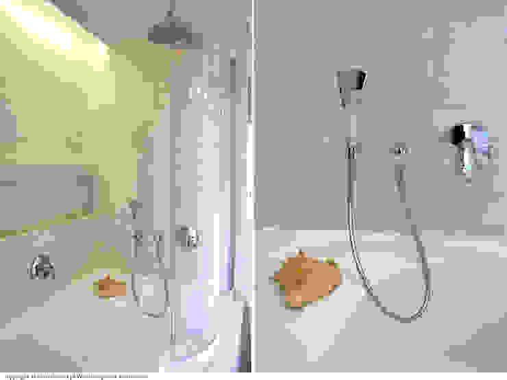 Łazienka - wanna Minimalistyczna łazienka od DoMilimetra Minimalistyczny