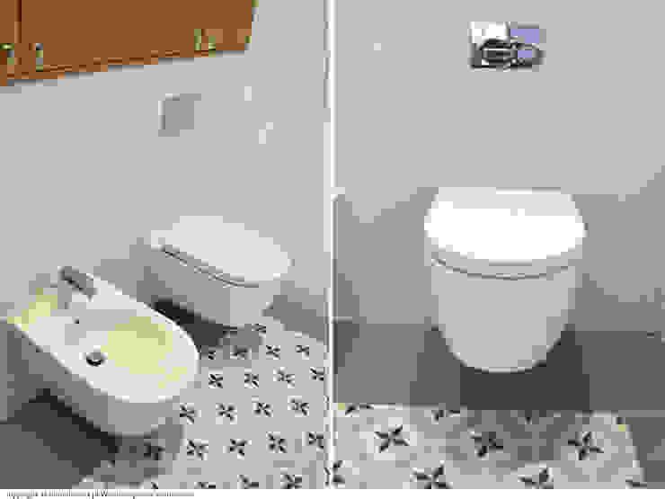 Łazienka - ceramika Minimalistyczna łazienka od DoMilimetra Minimalistyczny