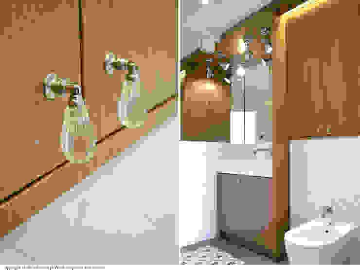 łazienka - zabudowa pod wymiar Minimalistyczna łazienka od DoMilimetra Minimalistyczny Drewno O efekcie drewna