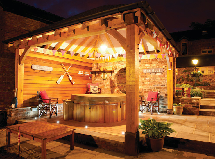 Gazebo's and Pavilions Mediterranean style spa by Cedar Hot Tubs UK Mediterranean