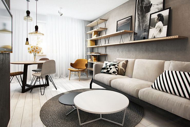 Scandinavian style living room by razoo-architekci Scandinavian