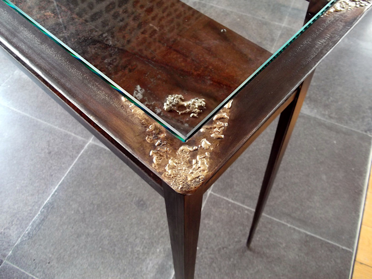 Console Table in steel and glass – Achrone #1 Forge Art by A.T.R Corridor, hallway & stairsDrawers & shelves
