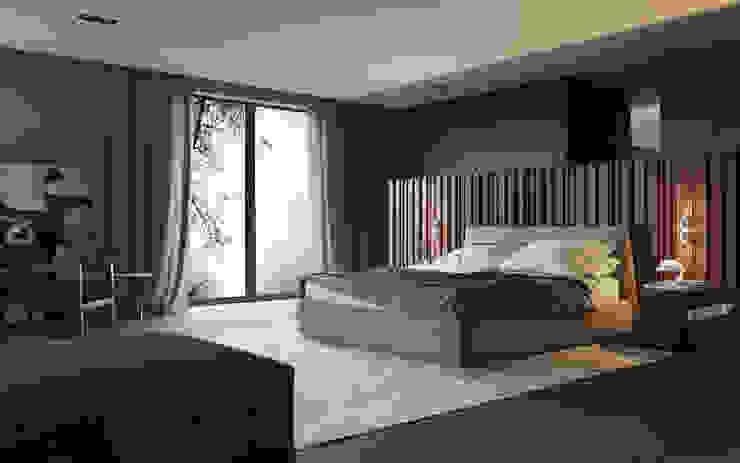 Визуализация интерьера спальни. Спальня в стиле минимализм от Aleksandra Kostyuchkova Минимализм