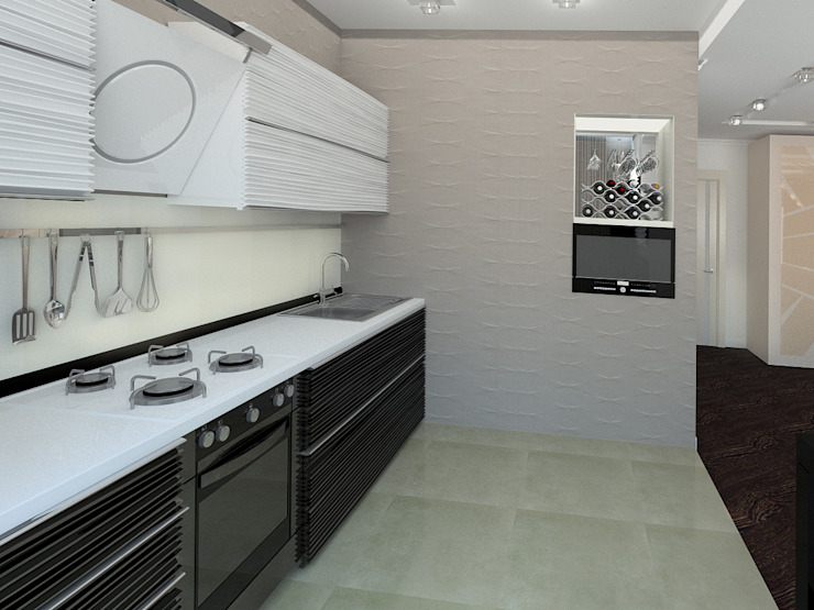 3-х комнатная квартира г.Краснодар Кухня в классическом стиле от K&D Классический
