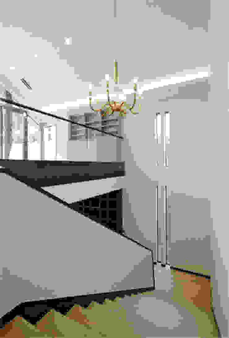 Modern corridor, hallway & stairs by 株式会社 間瀬己代治設計事務所 Modern