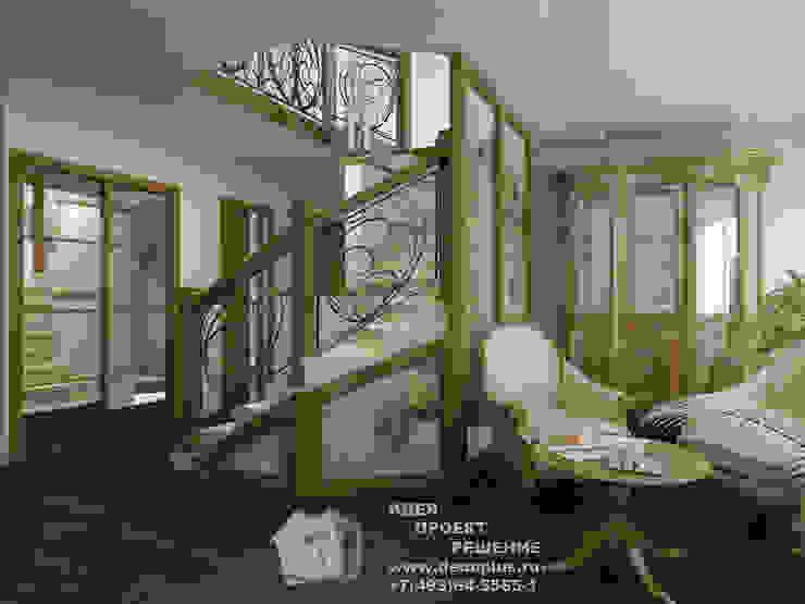 Лестница в загородном доме Коридор, прихожая и лестница в модерн стиле от Бюро домашних интерьеров Модерн