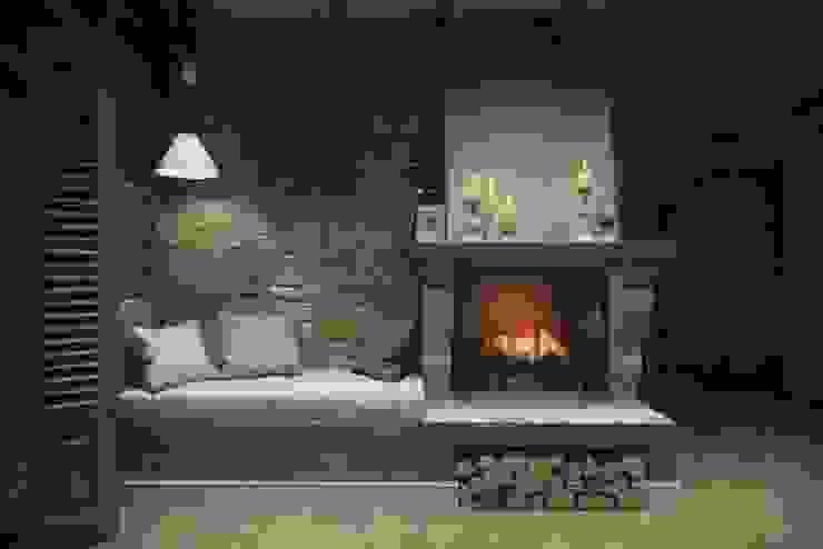 Дизайн интерьера дома в п.Зеленое Гостиная в рустикальном стиле от MJMarchdesign Рустикальный
