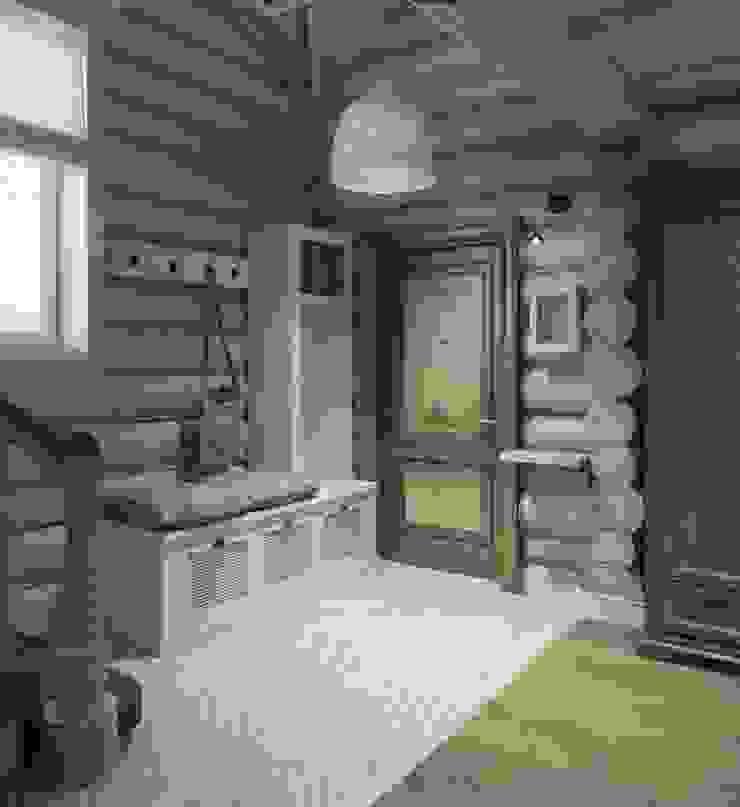 Дизайн интерьера дома в п.Зеленое Коридор, прихожая и лестница в рустикальном стиле от MJMarchdesign Рустикальный