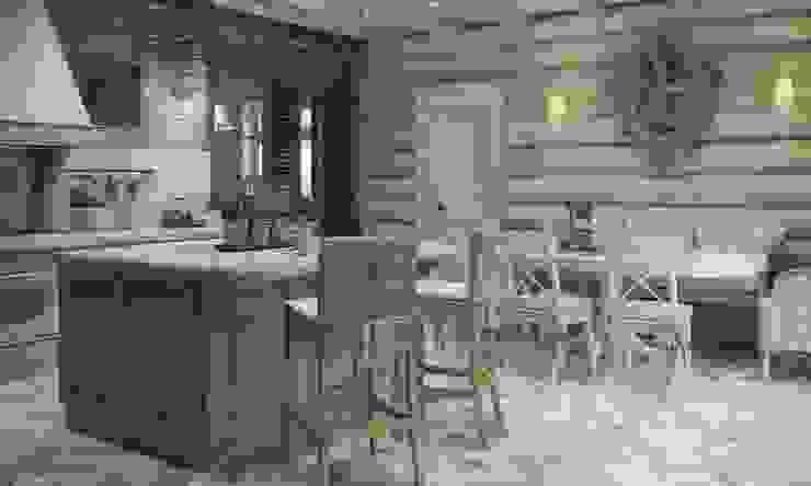 Дизайн интерьера дома в п.Зеленое Столовая комната в рустикальном стиле от MJMarchdesign Рустикальный