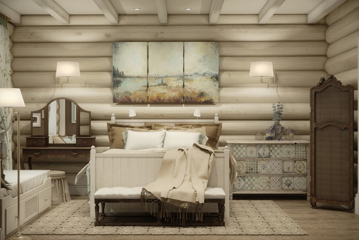 Дизайн интерьера дома в п.Зеленое Спальня в рустикальном стиле от MJMarchdesign Рустикальный
