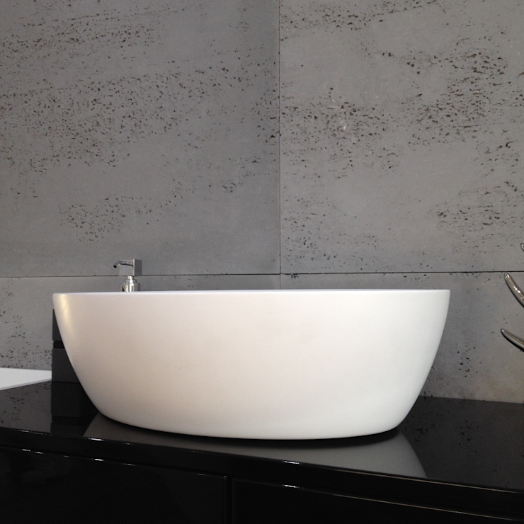 Owalna umywalka nadlatowa Nowoczesna łazienka od Luxum Nowoczesny