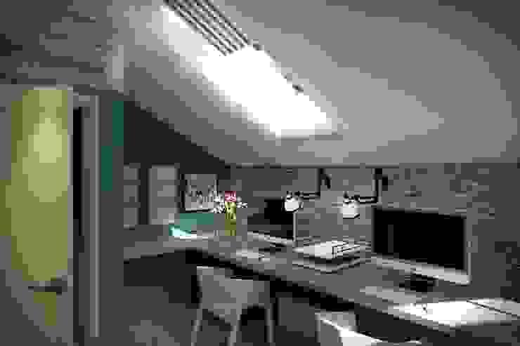 3 этаж: рабочий кабинет, мастерская, антресольный этаж с комнатой отдыха Рабочий кабинет в стиле лофт от Дизайн-студия HOLZLAB Лофт