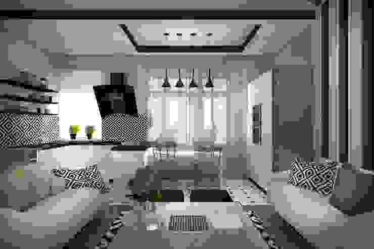 1 этаж: гостиная, совмещенная с кухней-столовой Гостиная в стиле минимализм от Дизайн-студия HOLZLAB Минимализм