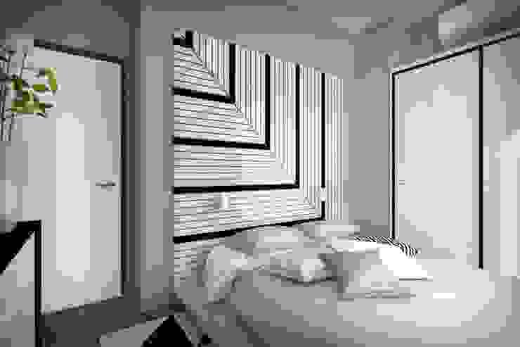 2 этаж: 2 спальни, ванная комната и гардеробная Спальня в стиле минимализм от Дизайн-студия HOLZLAB Минимализм