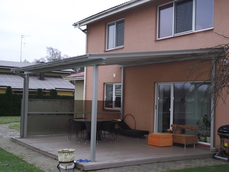 Glass Canopy with steel frame Inox City Ltd Modern balcony, veranda & terrace