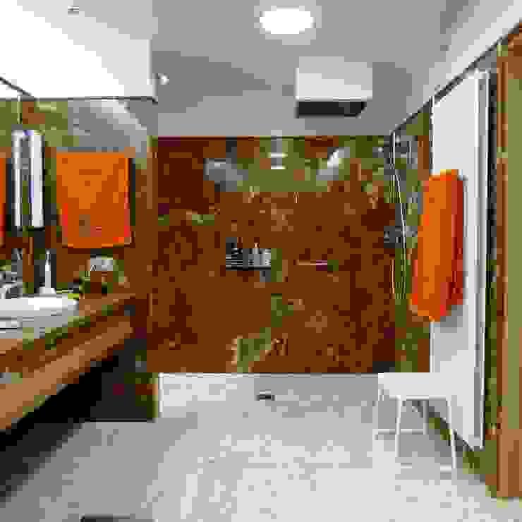 07-Casa Raúl- Baño de uno de los dormitorios, acabado en Ónice Chocolate Baños de estilo moderno de DELSO ARQUITECTOS Moderno Mármol