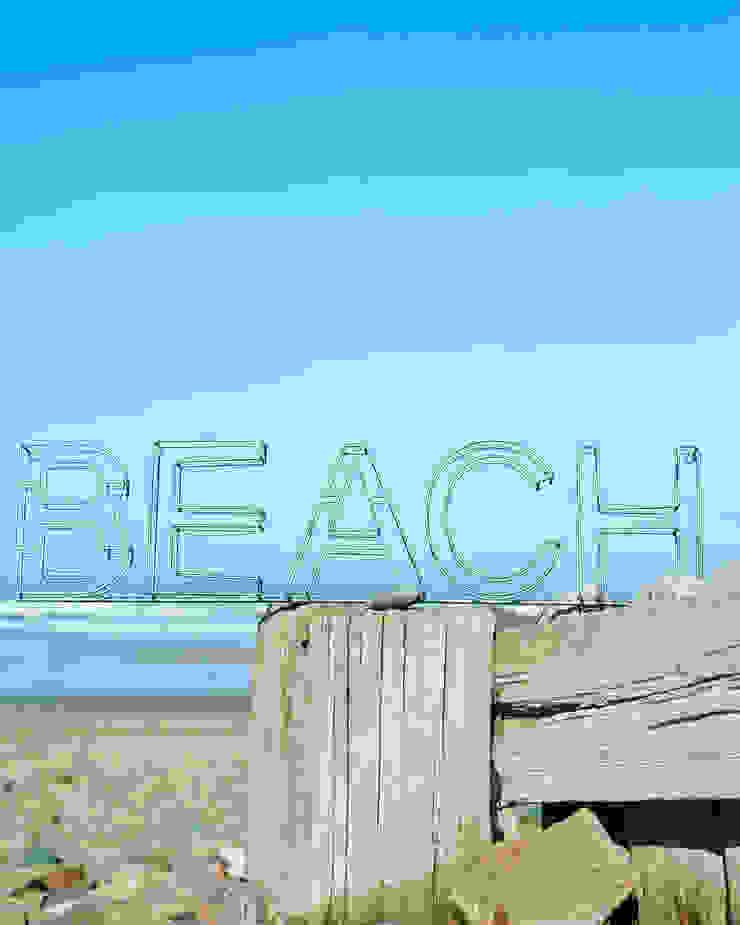 Galvanised metal beach sign brush64 Oturma OdasıAksesuarlar & Dekorasyon
