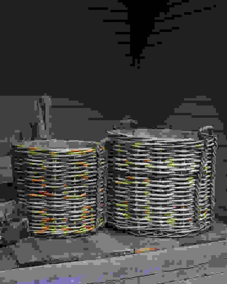 Very large rattan log baskets - rope handles brush64 Oturma OdasıŞömine & Aksesuarları
