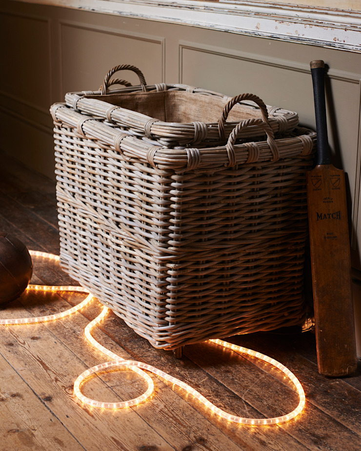 rectangular rattan log baskets with wheels & handles brush64 Oturma OdasıŞömine & Aksesuarları